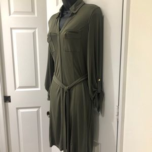 INTERNATIONAL CONCEPTS OLIVE GREEN DRESS